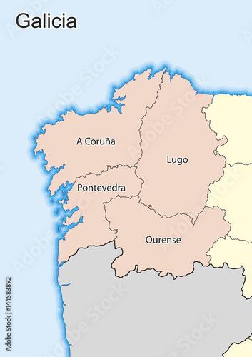 Vector map of the spanish autonomous community of Galicia