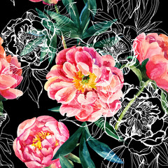 Obraz Watercolor and sketch peonies seamless pattern