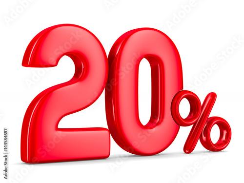 Fotografia  Twenty percent on white background. Isolated 3D illustration