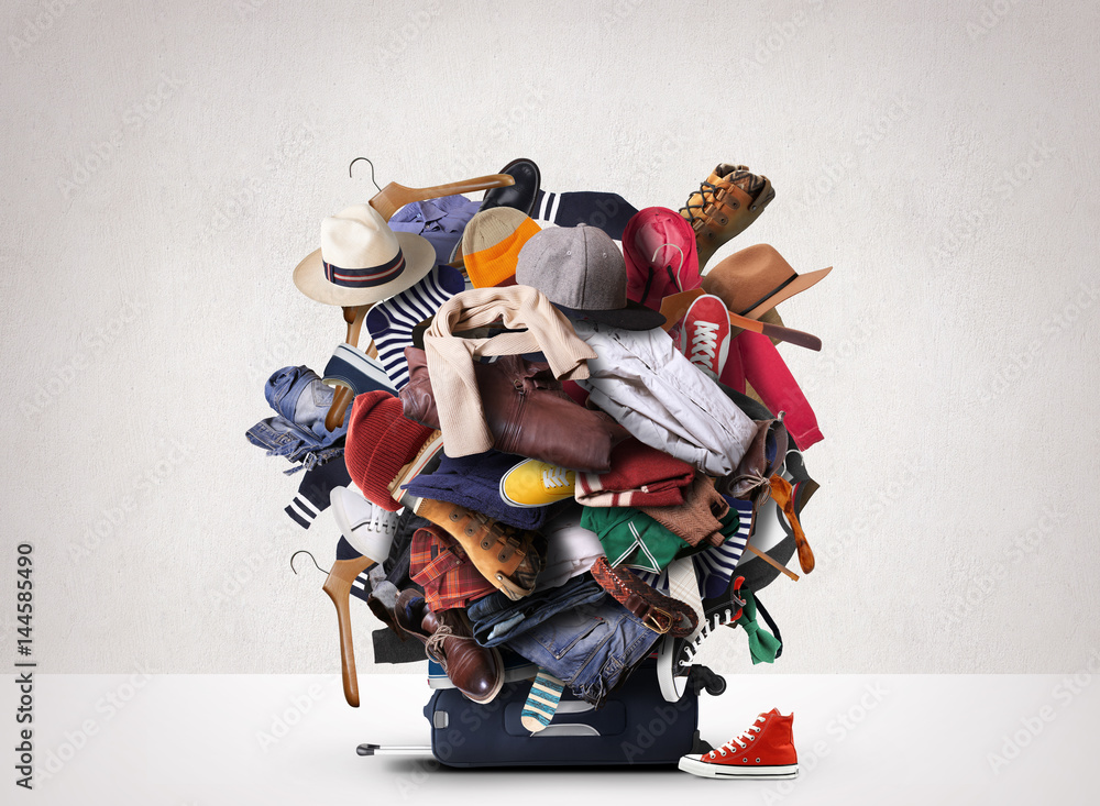 Fototapety, obrazy: Big heap of different clothes and shoes