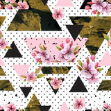 Abstract spring geometric seamless pattern. - 144586616