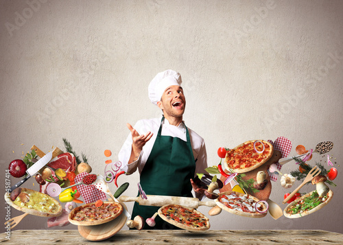 Poster Cuisine Pizza with different tastes with vegetables, cooking
