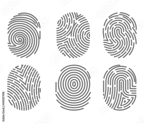 Fotomural Set of fingerprint types with twisted lines signs isolated vector
