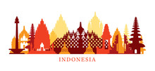 Indonesia Architecture Landmarks Skyline, Shape, Silhouette, Cityscape, Travel And Tourist Attraction