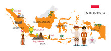 Indonesia Map And Landmarks With People In Traditional Clothing, Culture, Travel And Tourist Attraction