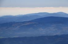 Blue Ridges Of Low Tatras And Slovak Ore Mountains, Low Tatra National Park, Slovak Paradise National Park, With Predna Hola And Stolica Peaks, From Lomnicky Peak, High Tatras, Slovakia