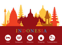Indonesia Landmarks Skyline With Accomodation Icons, Cityscape, Travel And Tourist Attraction