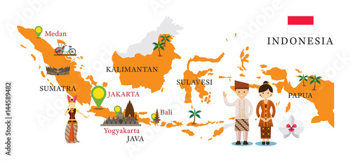 Fotomural Indonesia Map and Landmarks with People in Traditional Clothing, Culture, Travel