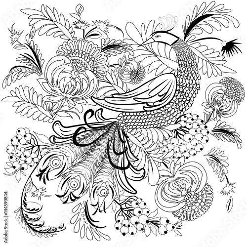 Tropical wild bird and flowers. Coloring book for adult and older ...