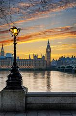 Obraz na Szkle Style Sicht auf den Big Ben in London bei Sonnenuntergang