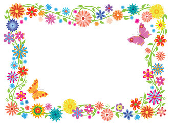 Naklejka Summer frame formed of fancy flowers and butterflies. No background.