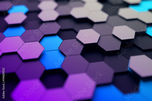 Plakat Abstrakcjonistyczny 3d rendering futurystyczna powierzchnia z sześciokątami. Współczesny science-fiction tło z efekt bokeh. Projekt plakatu.