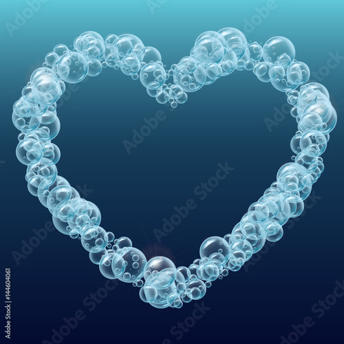 shampoo bubbles heart shape template for web site background flyer