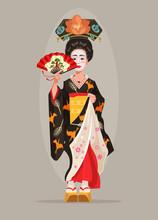 Japanese Beautiful Geisha Character Hold Fan. Vector Flat Cartoon Illustration