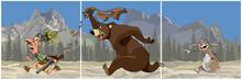 Triptych Cartoon Bear Chasing ...