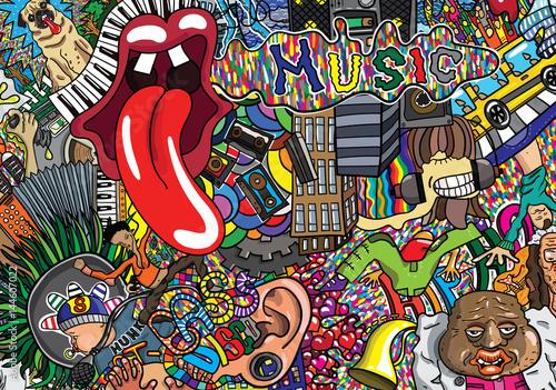 Music Graffiti Wallpapers: Music Collage On A Large Brick Wall, Graffiti
