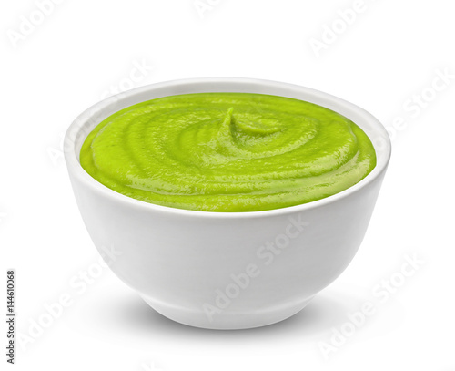 Photo Bowl with wasabi sauce isolated on white background, one of the collection of va
