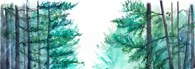 Watercolor turquoise winter wood forest pine landscape