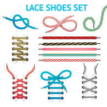 Colorful Shoelace Icon Set