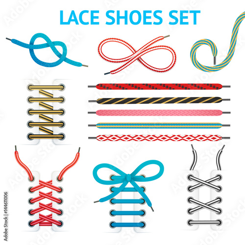 Fotografía  Colorful Shoelace Icon Set