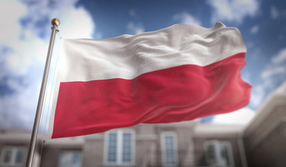 Fototapeta na wymiar Poland Flag 3D Rendering on Blue Sky Building Background