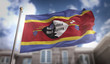 Swaziland Flag 3D Rendering on Blue Sky Building Background