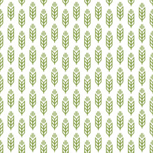 Ear Seamless Pattern Green Color On White Background For Decoration Natural Product Store, Organic Market, Bakery Shop, Nature Firm, Ecology Company, Garden, Farming, Forest. Vector Illustration