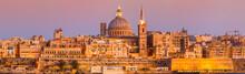 Malta Valletta Skyline Sundown XXL Panorama - Waterfront - Basilica Of Our Lady Of Mount Carmel