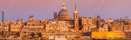 Canvas Malta Valletta Skyline Sundown XXL Panorama - waterfront - basilica of our lady