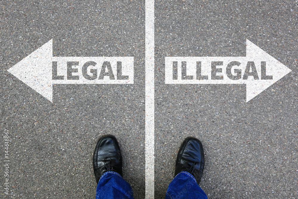 Fototapeta Legal illegal Business Konzept Entscheidung Verbot kriminell erlaubt verboten Problem