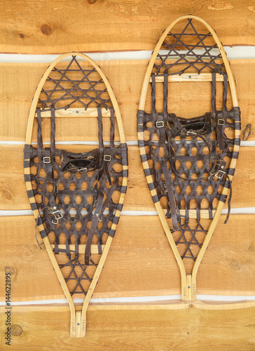 Vintage Snowshoes Hanging On Wall This Stock Photo And