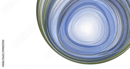 Staande foto Fractal waves the blue ball on white background