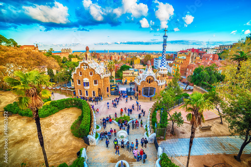 plakat Barcelona, Catalonia, Spain: the Park Guell of Antoni Gaudi at sunset