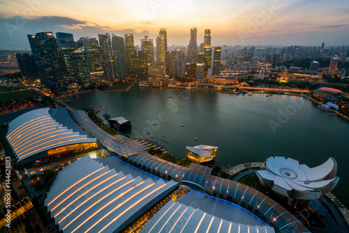 Singapore Skyline at Marina Bay from Aerial View Wallpaper Mural