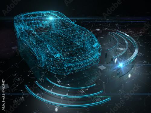 Fototapeta Driver less autopilot vehicle obraz