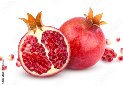 Pomegranate isolated. Whole pomegranate and its half isolated on white background