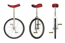 Unicycle Views Isolated On White 3d Rendering