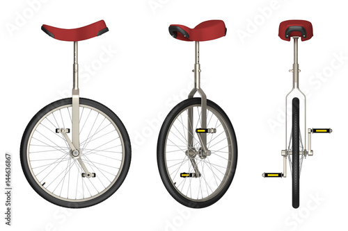 Aluminium Prints Bicycle unicycle views isolated on white 3d rendering