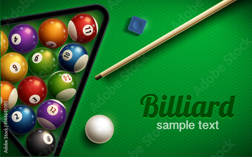 Fototapeta billiard table top view balls sport theme