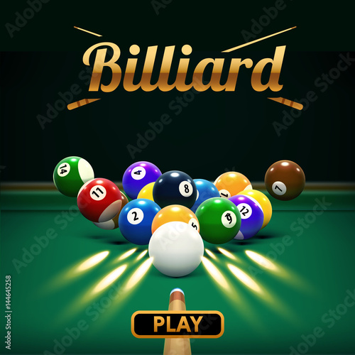 Fotografie, Obraz  billiard table front view balls sport theme