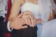 Hands of couple. Wedding concept