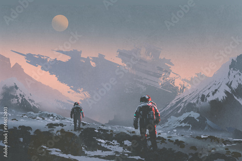 Aluminium Prints Dark grey sci-fi concept of astronauts walking to derelict spaceship on alien planet, illustration painting