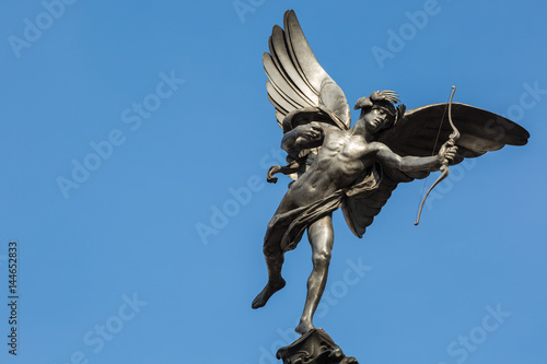 Famous statue of Cupid at Piccadilly Circus, London, UK Canvas Print