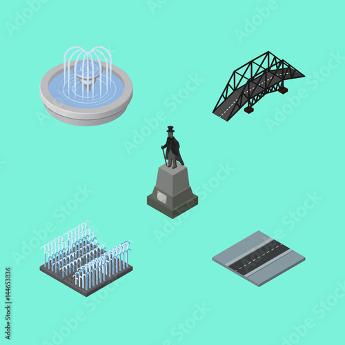 Foto op Canvas Groene koraal Isometric Architecture Set Of Path, Fountain, Sculpture And Other Vector Objects. Also Includes Path, Way, Sculpture Elements.