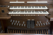 Wooden Church Organ Keyboard