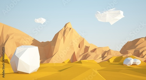Poster Miel Abstract low poly background with sand desert and white stones flying in the air . Early morning sunny illustration with blue sky .