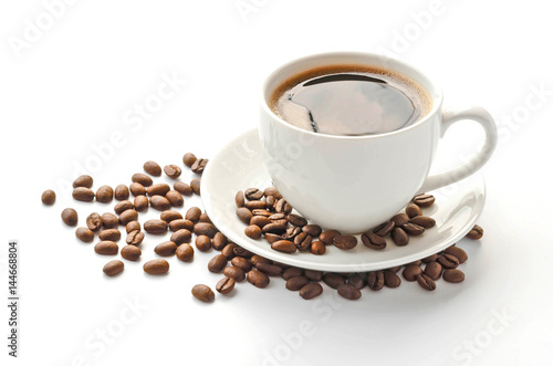 Wall Murals Cafe Coffee cup and saucer , coffee beans on a white background.