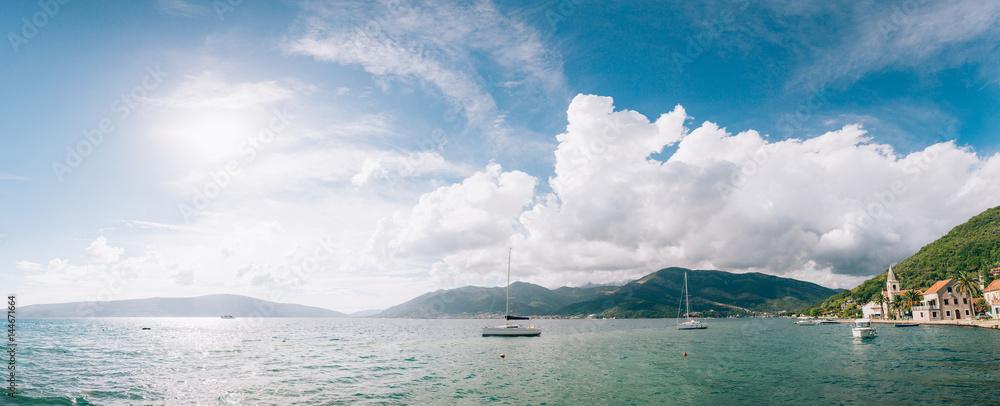 Yachts, boats, ships in the Bay of Kotor, Adriatic Sea, Montenegro Balkans