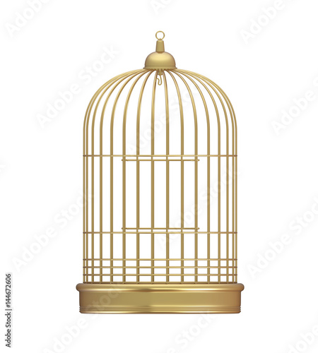 Golden Birdcage Isolated Canvas Print