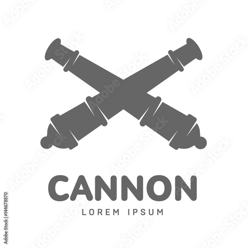 Abstract vector cannon label Canvas Print